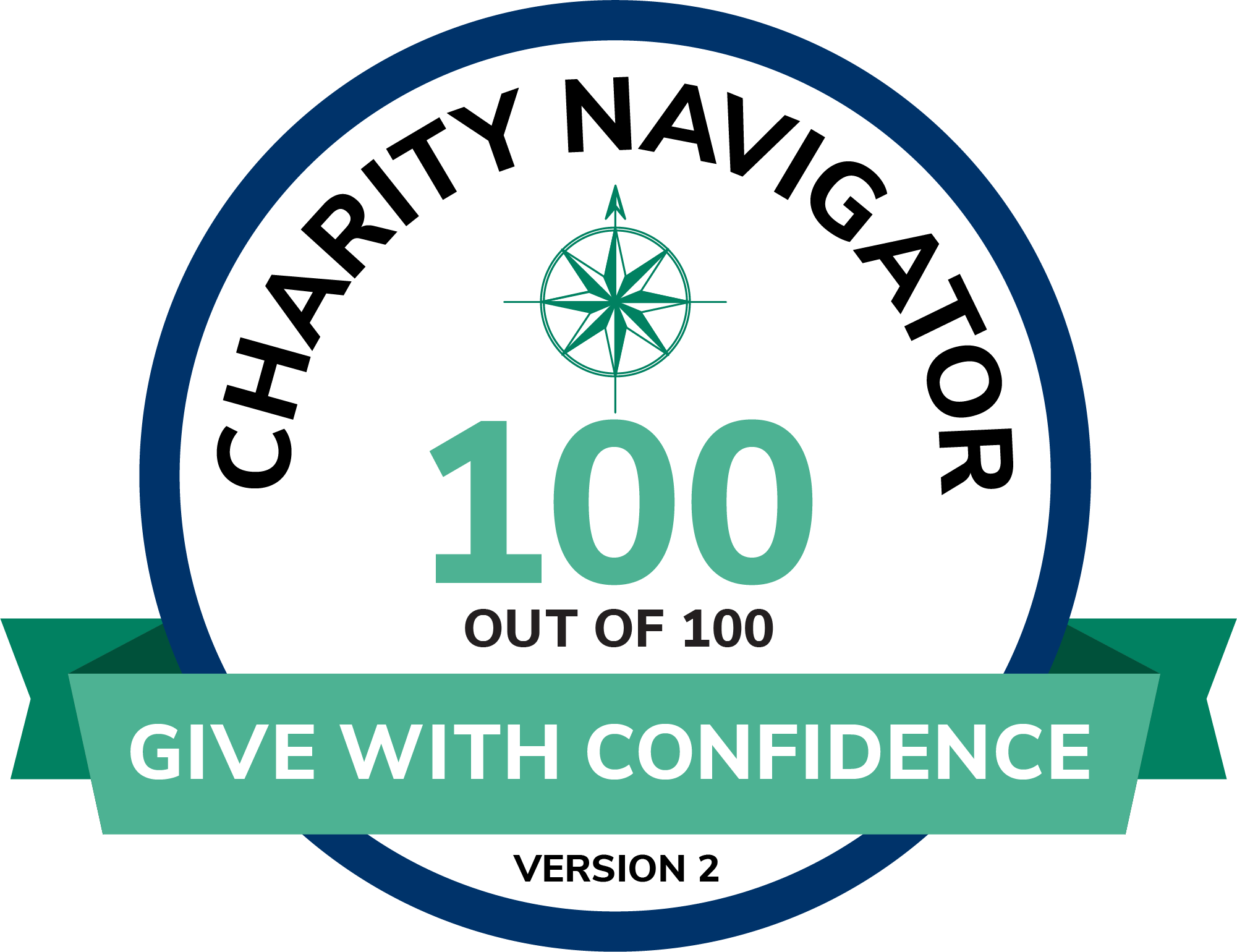 Charity Navigator Seal. 100 out of 100. Give with Confidence.