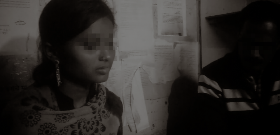 Real image of a young female survivor of sex trafficking in India. Identity obscured for survivor protection.