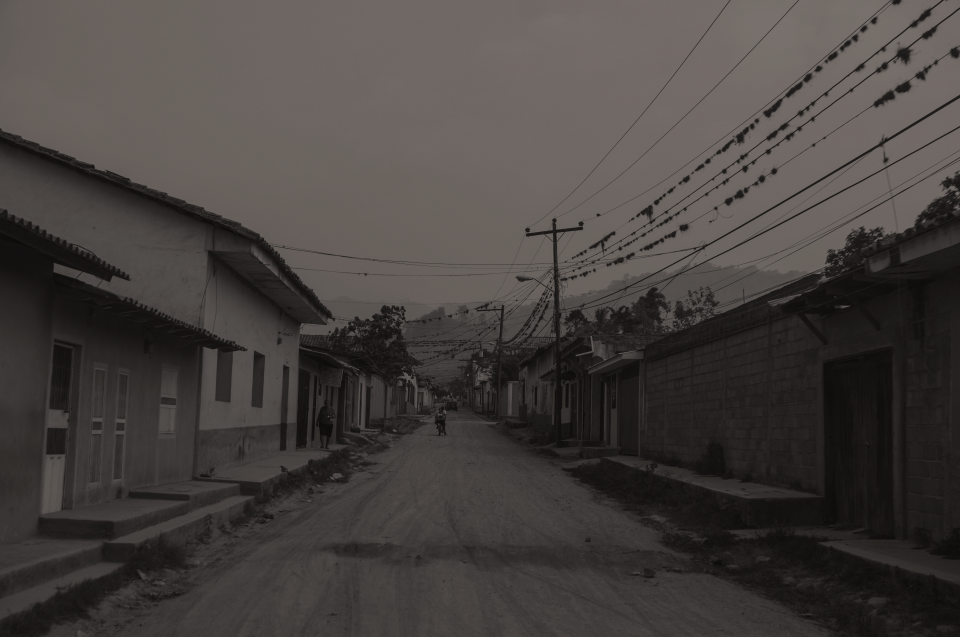 India Street Scene with power lines and a row of homes and community buildings.